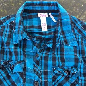 JUSTICE sz 18 plaid shirt